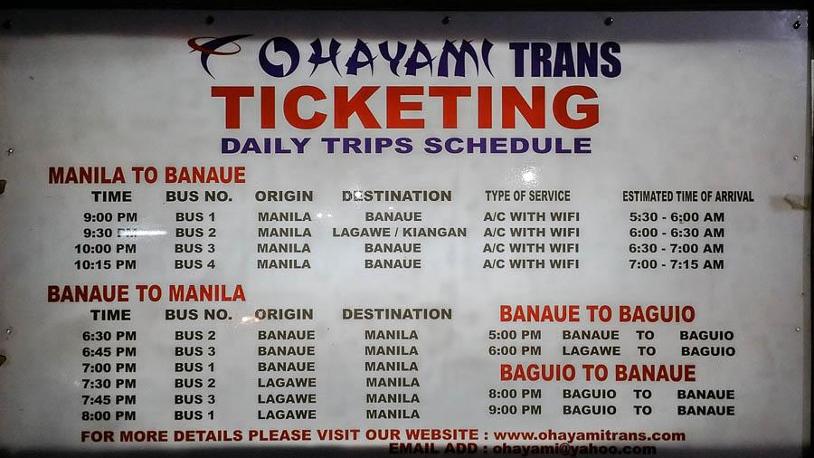 Tabla de horarios de autobús entre Manila y Banaue