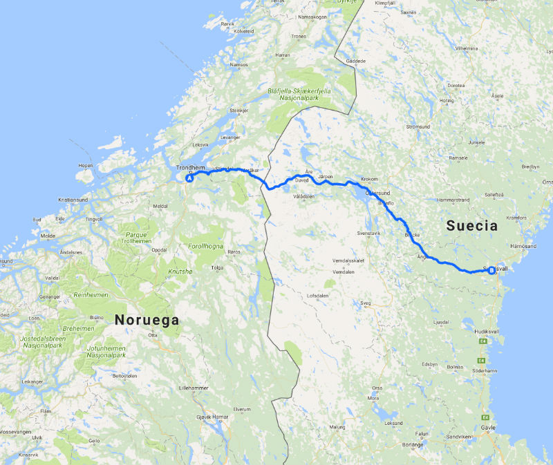 Camino de San Olav o de Nidaros, Mapa
