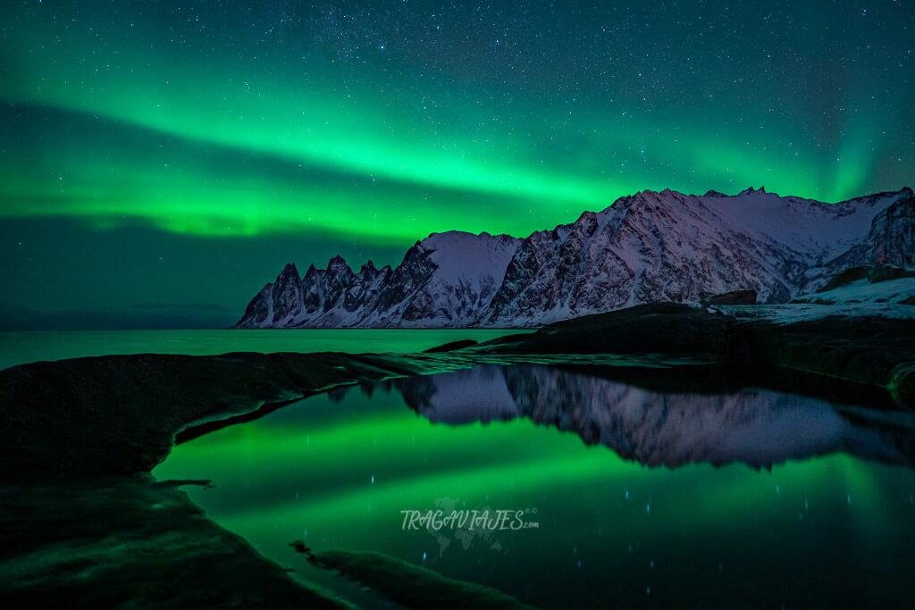 Mejores localizaciones para ver auroras boreales en Senja - Auroras boreales en Tungeneset