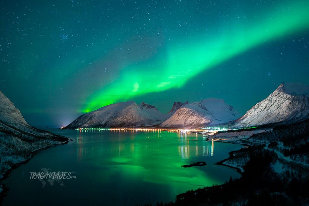 Dónde ver auroras boreales en Senja - Auroras boreales desde la plataforma de Bergsbotn