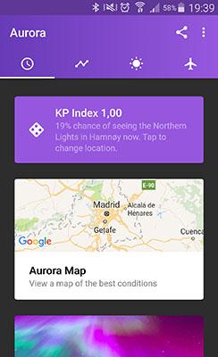 aplicación móvil previsión de auroras boreales