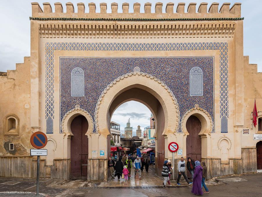 Puerta azul Bab Bou Jeloud, Fez, Marruecos