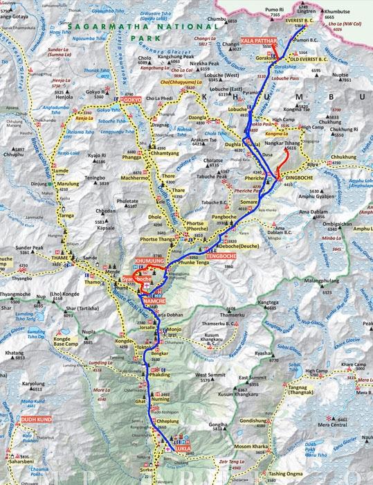 Mapa campo base del Everest