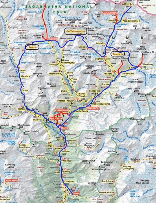 Mapa campo base del Everest - Tres pasos