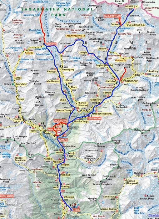 Mapa campo base del Everest y Gokyo