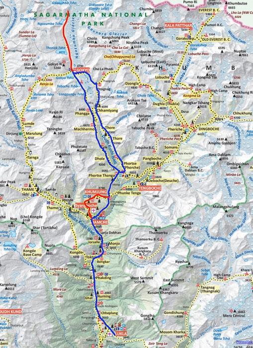 Mapa lagos de Gokyo