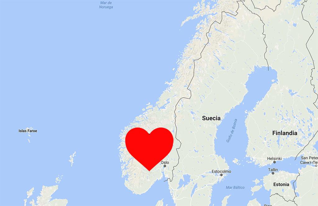 mapa corazón noruega