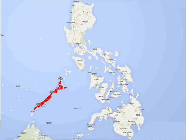 Mapa de Palawan, Filipinas