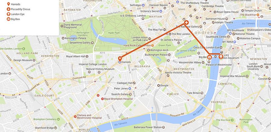 Ruta Londres mapa