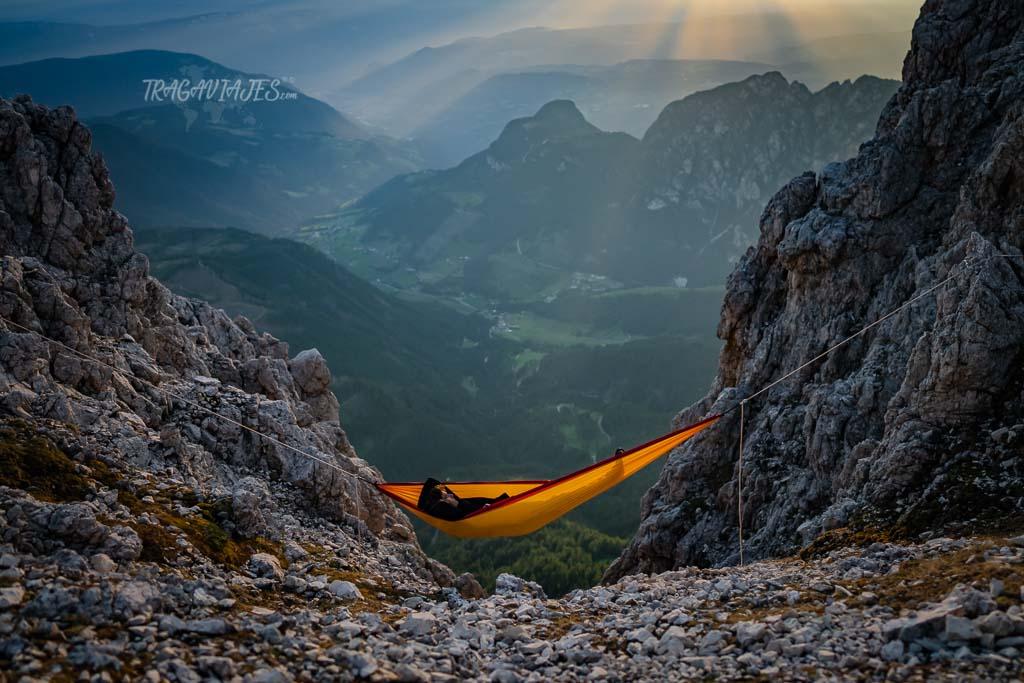 trekking torres vajolet dolomitas - Vista desde el refugio Santner