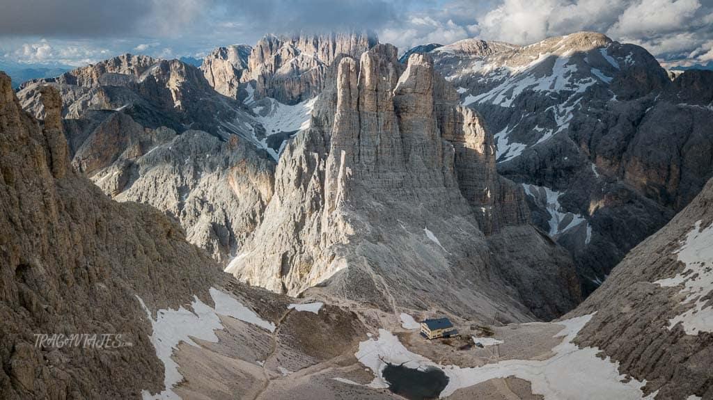 trekking torres vajolet dolomitas - Vista área de las torres de Vajolet